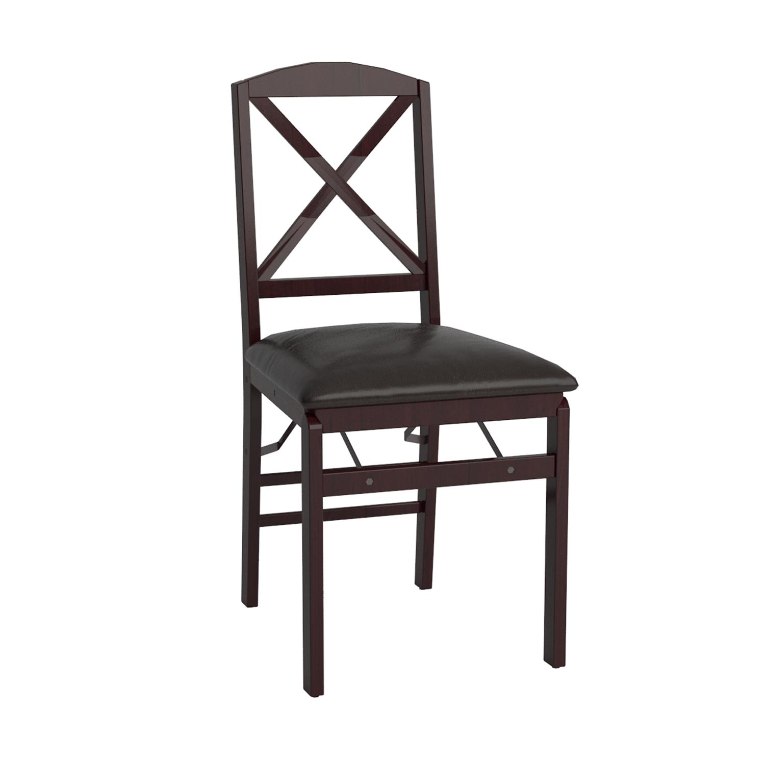 Amazon Cosco 2 Pack Wood Folding Chair with Vinyl Seat and X