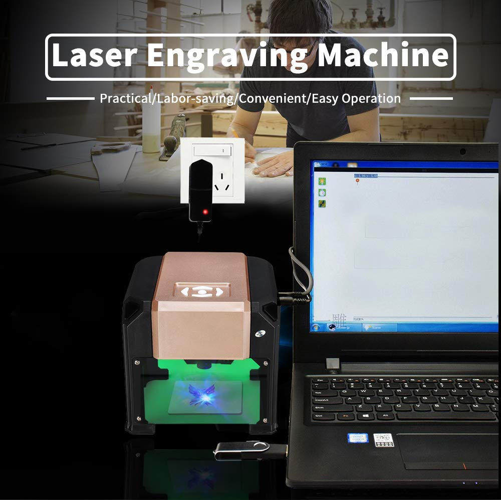 Laser Engraver, MYSWEETY 3000MW Mini DIY Laser Engraving Machine, Desktop Laser Engraver Printer, CNC Laser Carving Machine for Wood, Plastic, Bamboo, Rubber, Leather(Working Area: 8x8cm) by MYSWEETY (Image #2)