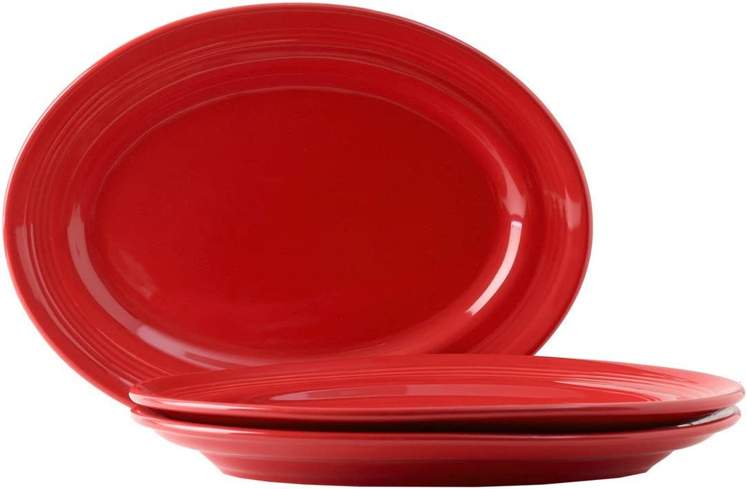 Tuxton Home Concentrix Oval Platter (Set of 3), 13 3/4