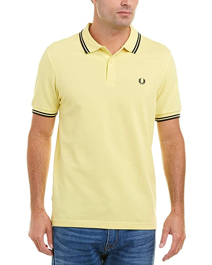 Fred Perry Hombres Doble Punta m3600 Polo Camisa Amarillo L ...