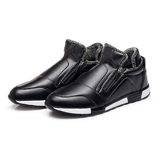 Zixi Pydi(TM) Men's Winter Snow Boots Double Zipper PU Leather Sneaker Warm Fur Lined Casual Shoes