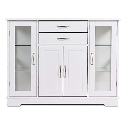 Giantex Console Table Sideboard W 2 Drawers 3 Cabinets And Glass Doors For Kitchen Dining Room Furniture Entryway Cupboard Buffet Server Storage