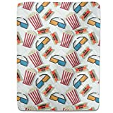 Popcorn In 3D Cinema Fitted Sheet: King Luxury Microfiber, Soft, Breathable