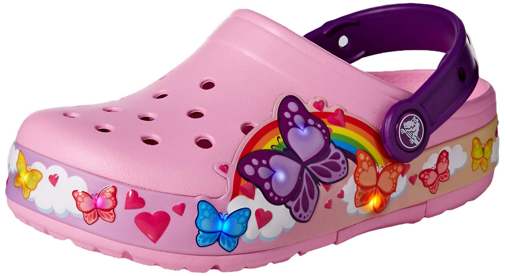 Crocs Kids' Fun Lab Butterfly Band Light-Up Clog, Carnation, 13 M US Little Kid by Crocs