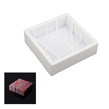 Molde cuadrado de silicona para hornear a rayas, color blanco: Amazon.es: Hogar