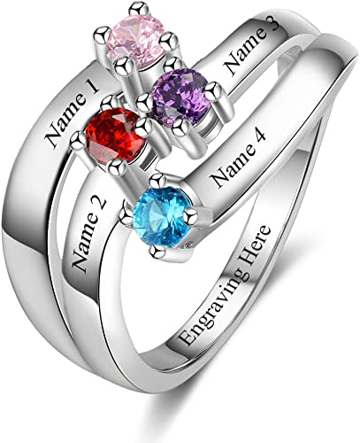 Amazon Com Personalized Mothers Rings With 4 Simulated