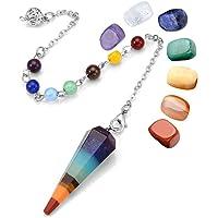 JSDDE 7 Chakra Reiki Healing Dowsing Crystal Pendulum Hexagon Point Stones Pendant and Healing Crystal Tumbled Palm Gemstone Meditation Jewelry Sets