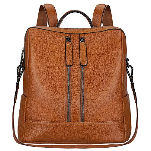 S-ZONE Women Genuine Leather Backpack Casual Shoulder Bag Purse Medium (Brown)