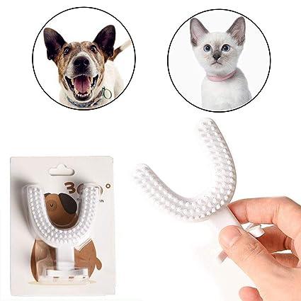 FOONEE Cepillo de Dientes para Mascotas 360 Grados en Forma de U, cerdas de Doble