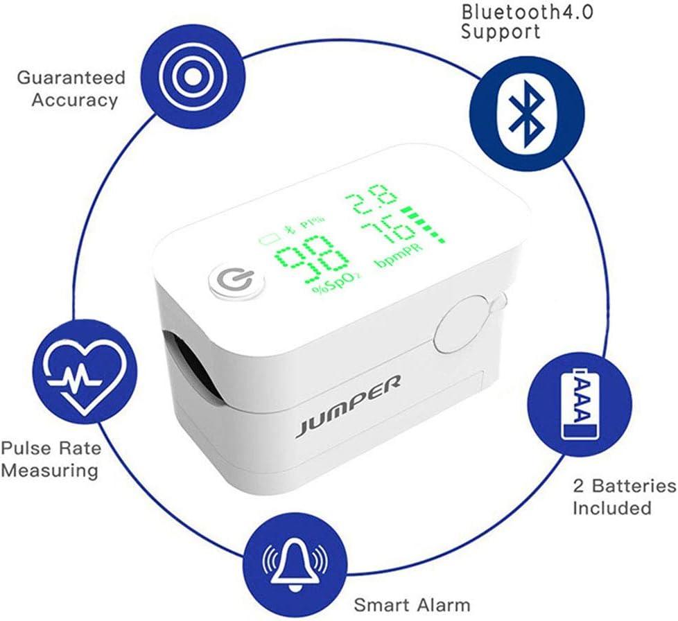 WHYTT Pulsioxímetro de Dedo de Pulso oximetro Digital, para el Cuidado de la Salud Familiar Bluetooth Frecuencia Spo2, Pr, Pi, Monitoreo del sueño Función de Memoria de Almacenamiento de 8 Horas
