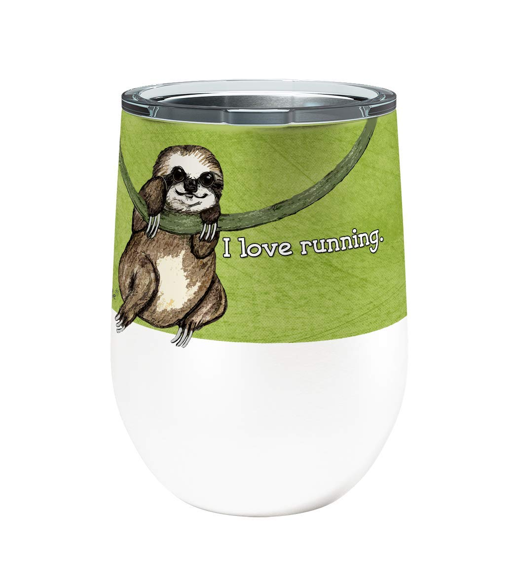 Sloth Running Single 12 Ounce Stemless Insulated Stainless Steel Wine or Coffee Tumbler with Clear Lid by Pithitude