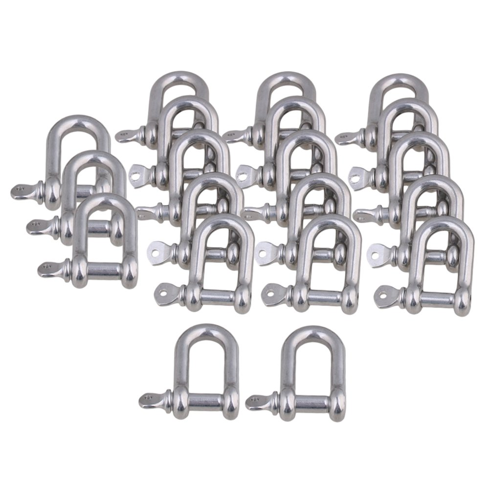 CNBTR M6 Silver 304 Stainless Steel European Style Chain D-Ring Shackle Hardware Rigging Set of 20 by CNBTR