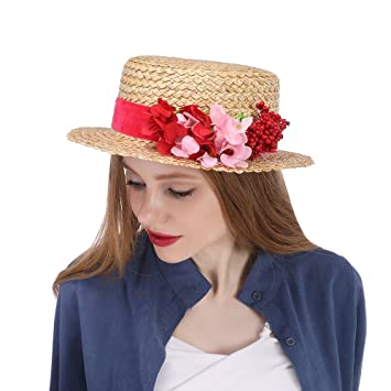 ozigwpa3 straw sun hat with red flowers straw boater hat kentucky