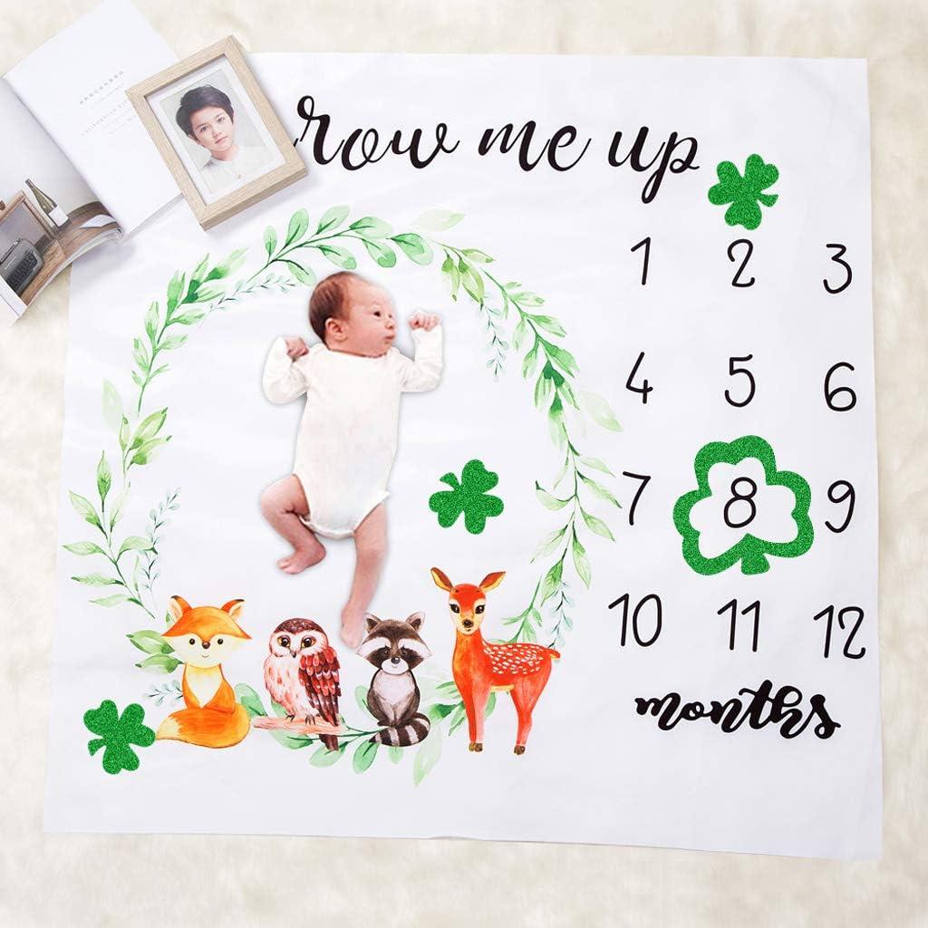 Yanhonin Couverture Baby Milestone Toile De Fond pour Photo Nouveau-n/é avec Courbe De Croissance Mensuelle Cadeau De Shower De B/éb/é