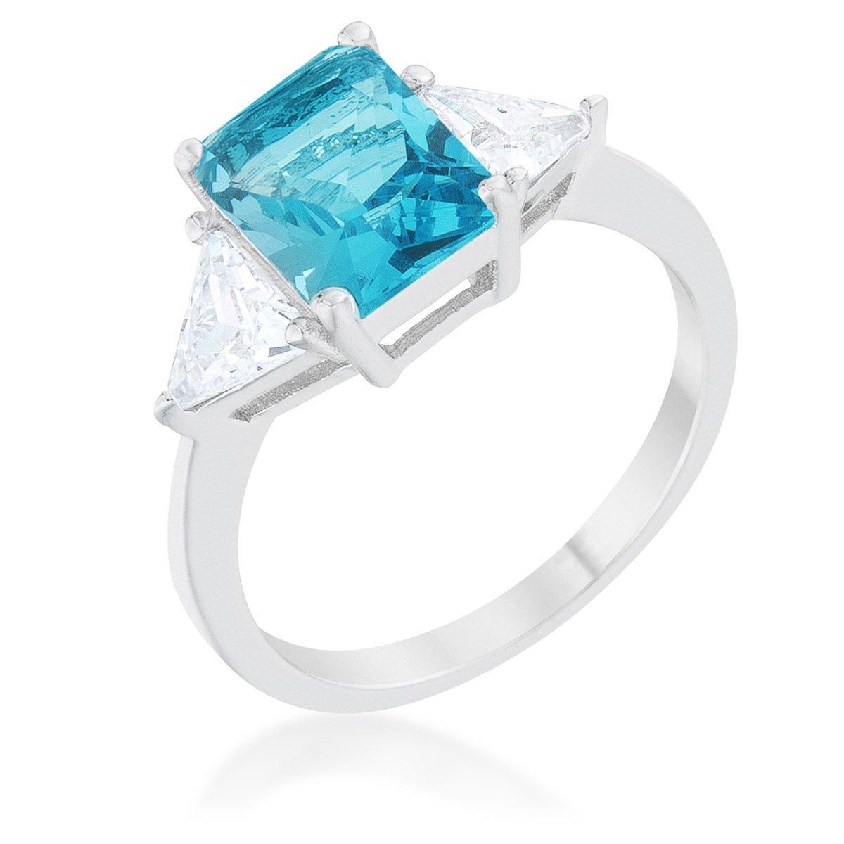 Covet Classic Blue Topaz Rhodium Plated Engagement Ring