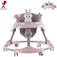 COOLBABY Baby Walker Ride on Riding Walkers Anti-O-Leg Anti-Rollover Safety Cover Music Foldable Adjustable Height for Babies Toys Car Kids Accessories Pink