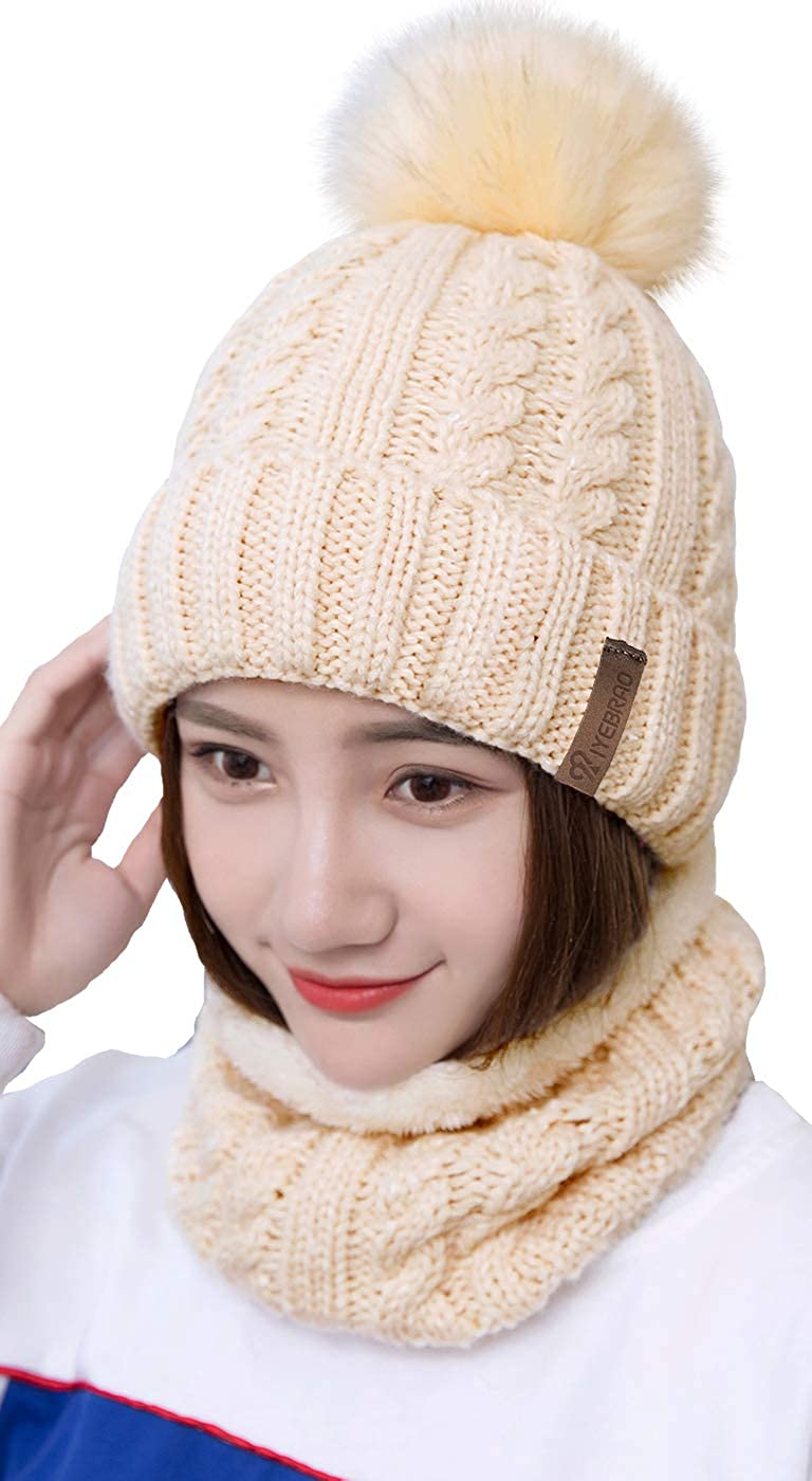 Hand Crocheted Set of Two Ivory and Pink Cotton Skull Cap