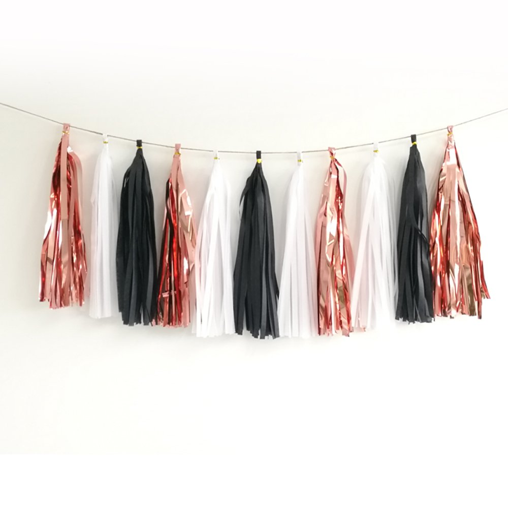 15pcs Shiny Tassel Garland Banner Tissue Paper Tassels for Wedding, Baby Shower, Table Decor,Event & Party Supplies, DIY Kits - (Rose Gold,White,Black)