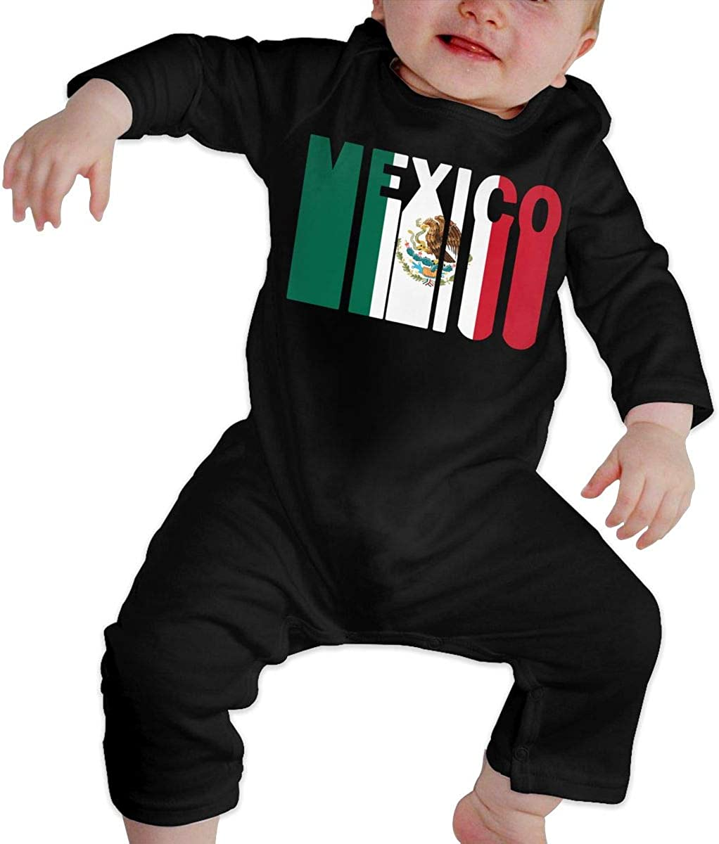 YELTY6F Retro Mexico Flag-1 Printed Newborn Baby Boy Girl One-Piece Suit Long Sleeve Rompers Black