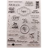 Merry Christmas Happy New Year Happy Birthday Verses Phrase Clear Stamps for Christmas Cards Making Decoration and…
