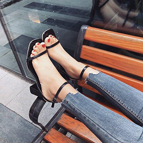 YMFIE Sandalias Exterior Verano cómodas Calzado talón brown Talón Sandalias Dama Sandalias de qnqw6SBr