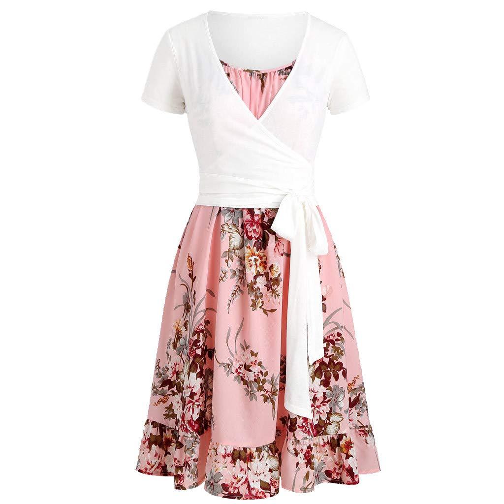 Zackate Women Summer Cami Floral Dress with Crop T-Shirt Set Casual Blouse Dress Sets Pink