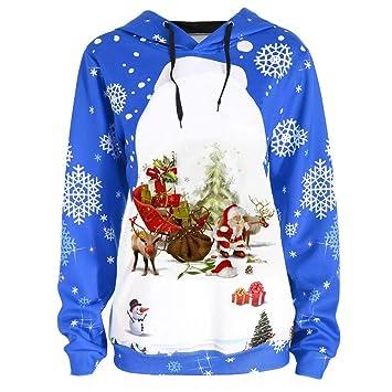 LILICAT☃ Santa Claus Snow Gifts Snowflake Imprimir Hoodie Tops Mujeres Feliz Navidad Santa Claus Imprimir Snowflake Sudadera con Capucha Blusa: Amazon.es: ...