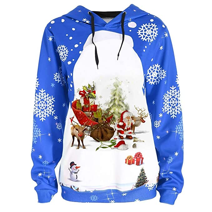 3d46597f3825af Christmas Tops Women,BCDshop Ladies Newest Snowflake Santa Claus Shirt  Hooded Sweatshirt Blouse (Blue