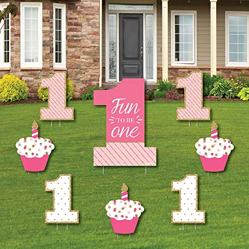 1st Birthday Yard Sign (1st Birthday Girl - Fun to be One - Yard Sign & Outdoor Lawn Decorations - First Birthday Party Yard Signs - Set of)