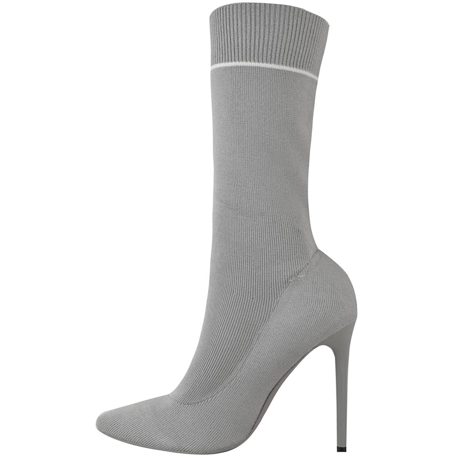 Damen High High Heels in Socken-Optik - elastisch - wadenlang - Stiletto-Absatz - Schwarzes Strickmuster - EUR 39 10nktM