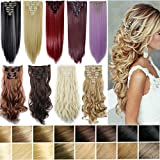 "FIRSTLIKE 17""-26"" 120g-150g Clip In Hair Extensions Thick Full Head Long Straight Curly 8 Pieces 18 Clips Colors Soft Silky For Girls Wigs"