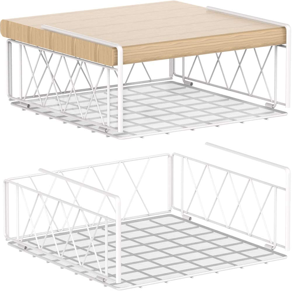 Auledio Under The Cabinet Shelf Rack,Vertical Wire Rack for Hanging Storage Baskets with Liner,White (2 Pack)