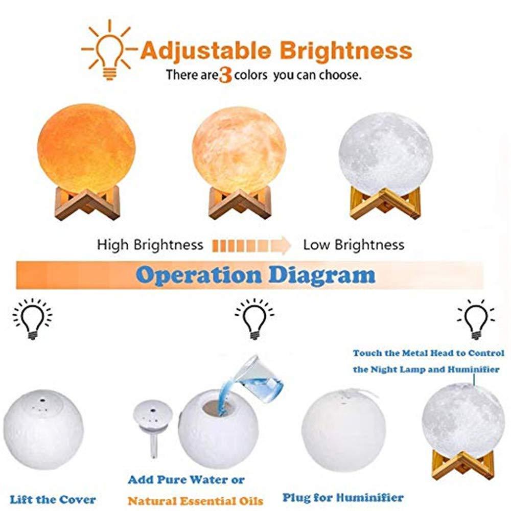 LARRY SHELL L/ámpara de Luna Luz Nocturna 3D Humidificador de Niebla con Soporte y Control T/áctil para Colores Claros con USB Humidificadores de Aire-para beb/és ni/ños Regalo Soporte de Madera