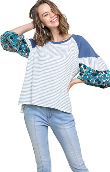 Umgee Womens Floral Colorblock Puff Sleeve Top