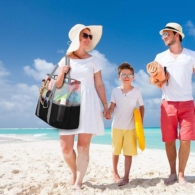 YOOFAN Beach Tote Bag Mesh Wet Sports Gear Shoulder Bag Waterproof Duffle