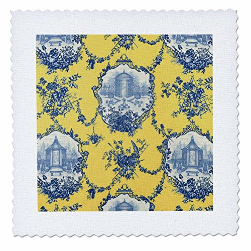 Toile. Yellow & Blue. Popular Toile Print. - Quilt Square, 25 by 25-Inch (qs_218087_10) (Garden Toile Fabric)