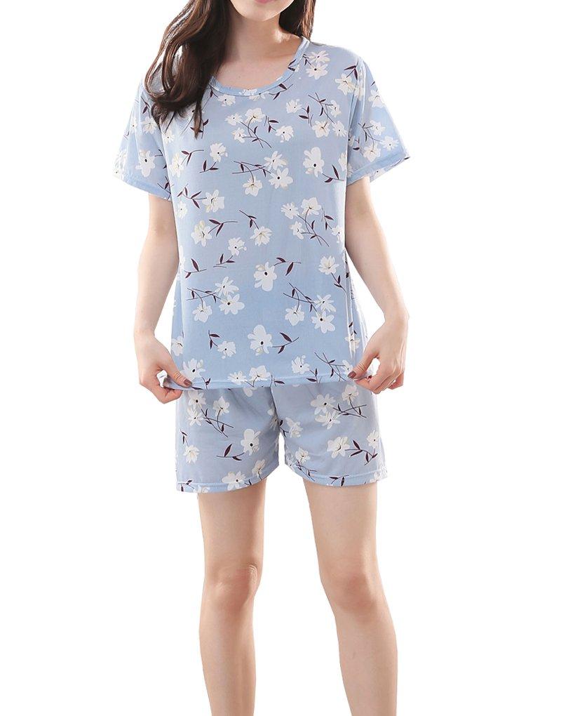 MyFav Big Girls' Florals Printed Sleepwear Pretty Cute Summer Pajamas 8-14 Years