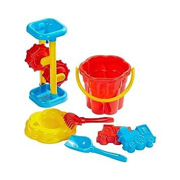 Spielzeug & Modellbau (Posten) Großhandel & Sonderposten 1 x Sandeimer Sandspielzeug-Set 7 tlg Strandspielzeug Sieb Förmchen Gießkanne