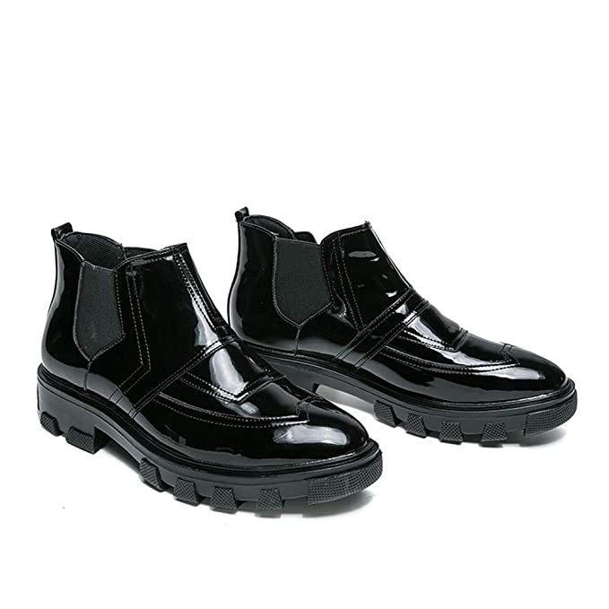 HILOTU ¡Despeje! Botas Oxford Brogue de ala de ala de Hombre Botas con Cordones de Charol Botines de Vestir de Tobillo Combate de Trabajo (Color : Negro, ...