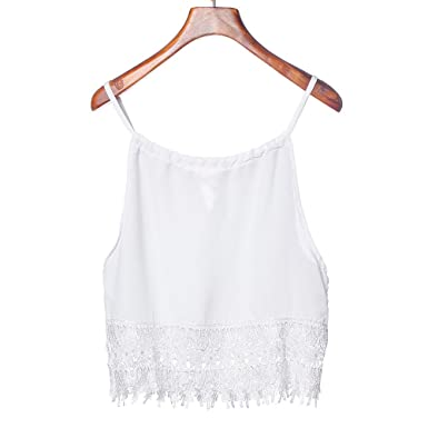 Hotkey Clearance Women Lace Crop Tops Essential Cute Camisole Fashion Tank  Top (S)