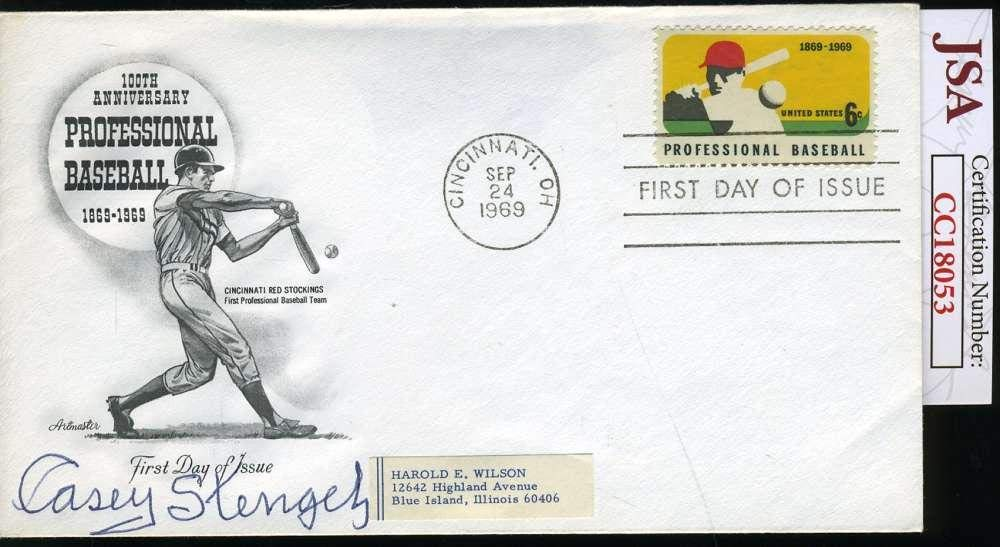 CASEY STENGEL COA Autograph 1969 FDC Hand Signed Authentic JSA Certified MLB Cut Signatures
