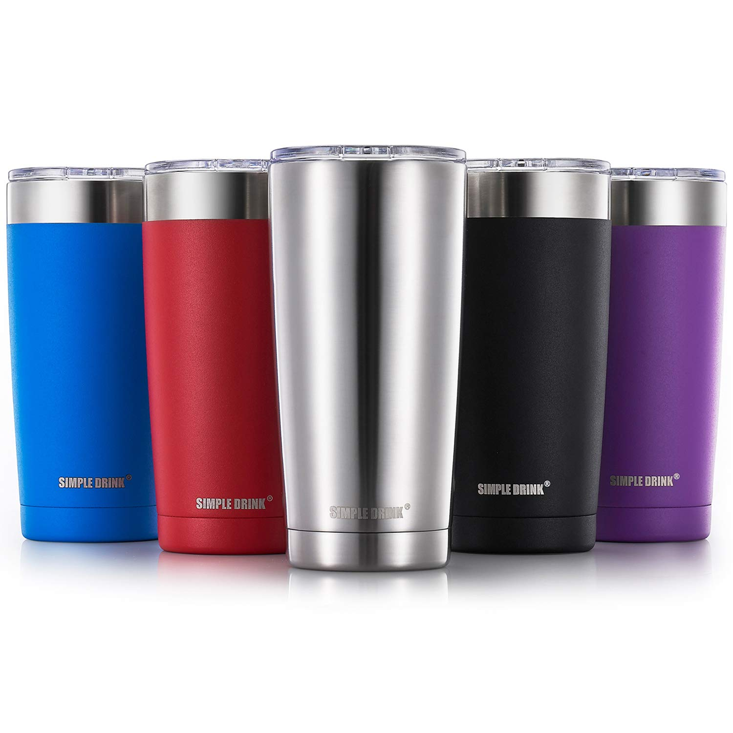 Simple Drink 20oz Stainless Steel Insulated Tumbler with Splash-Proof Lid - Double Wall Travel Coffee Mug - Works Great for Ice Drink & Hot Beverage (Caribbean Blue 20 Oz) LT