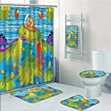 VROSELV 5-piece Bathroom Set-Includes Shower Curtain Liner,For Scary Monster in Ufo on Planet Solar System Funky Back Green BlueDecorate the bathroom(Large size)