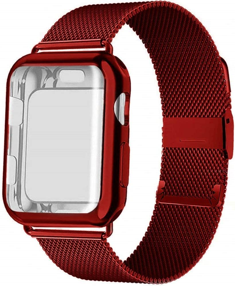 Case and Strap for Apple Watch Band 44mm 40mm 42mm 38mm smartwatch Belt Magnetic milanese Loop Bracelet iWatch Series 5 4 3 se 6 (44mm Series 654se,red)