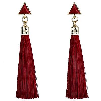 Gahrchian Women Long Earrings Plush Ball Long Gold Plated Earrings Jewelry Elegant Sweet Gift for Friends Sister Lover (3 Red): Clothing