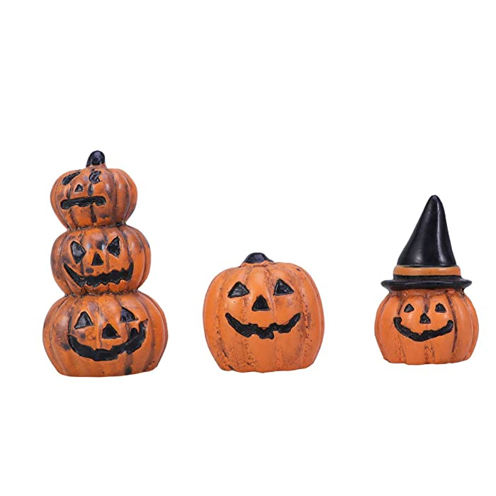 Yardwe 3pcs Halloween Fairy Garden Miniature Pumpkin Figurine Decorations Ornaments Doll House Accessories Halloween Party Favors Bag Fillers