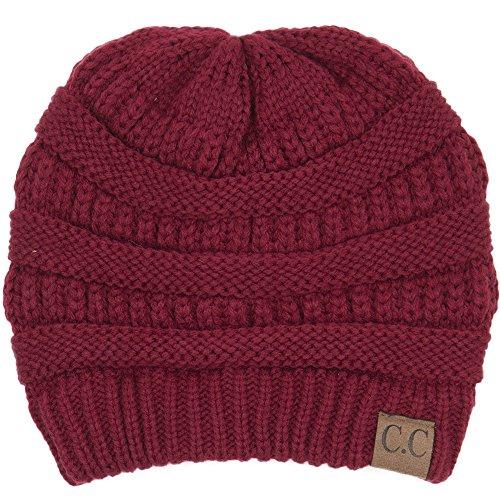(C.C BYSUMMER Warm Soft Cable Knit Skull Cap Slouchy Beanie Winter Hat (Burgandy))