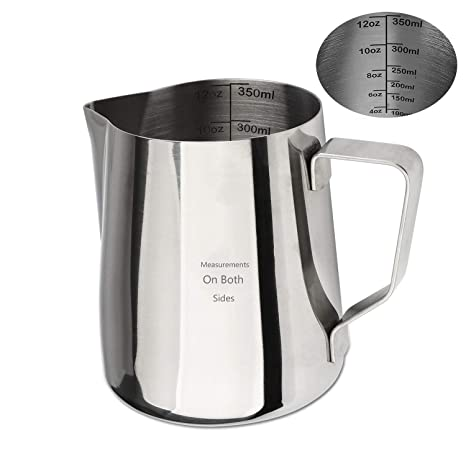 Jarra de leche de acero inoxidable 304 para café, taza de leche, 600 ml, con marcas de medición 350 ml