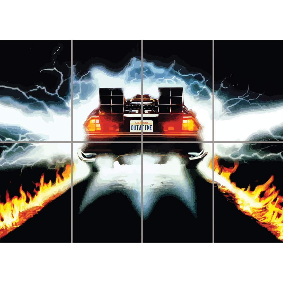 DeLorean Flames 8 pc Giant Wall Poster 118.8 x 84 cm (46.7 x 33 inches).