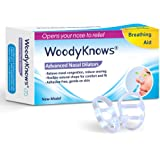 WoodyKnows Anti-Snoring Solution - Advanced Nasal Dilators Nose Vents Snore Stoppers to Ease Snoring and Breathing - Good Alternatives to Nasal Strips Chin Strap Jaw Strap Supporter, Medium, 2 Counts